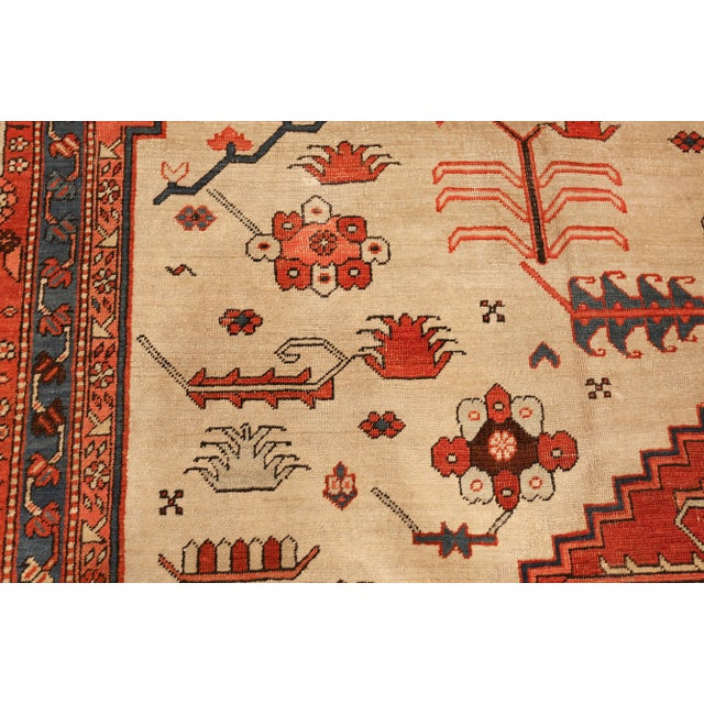 Textile Antique Serapi Persian Ivory Rug - 11′ × 12′6″ For Sale - Image 7 of 10