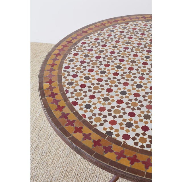 Spanish Dining Table With Moroccan Mosaic Tile Inlay For Sale - Image 4 of 13