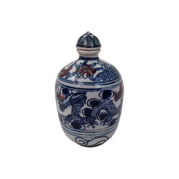 Asian Blue Underglaze Snuff Bottle & Stand For Sale - Image 3 of 4