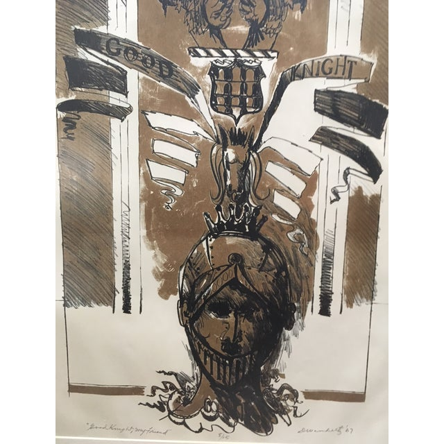 """Lithograph 1967 Vintage W. Dean Warnholtz """"Good Knight, My Friend"""" Framed Lithograph Print For Sale - Image 7 of 8"""