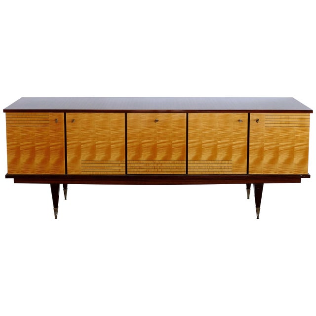 Ameublement Nf Mahogany and Satinwood Credenza With Brass Hardware From France For Sale - Image 13 of 13