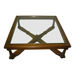 Vintage Over Sized French Country Cottage Wood & Glass Coffee Table Finial For Sale