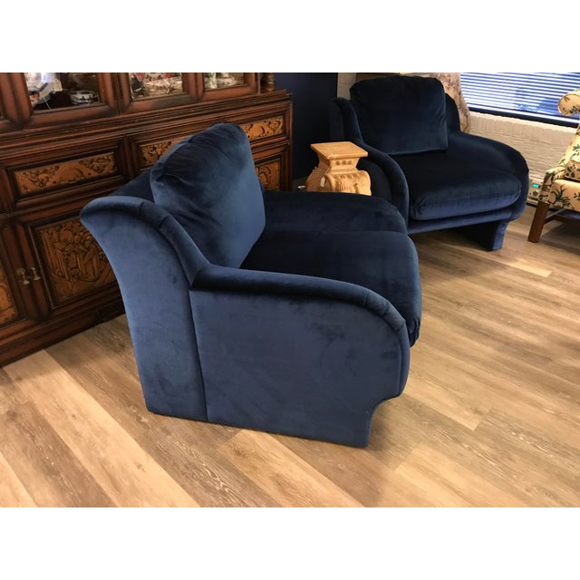 Blue Velvet Chairs - a Pair - Image 3 of 5