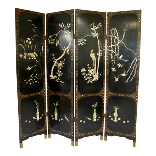 19th Century Asian 4 Panel Folding Screen With Mother of Pearl Inlay For Sale
