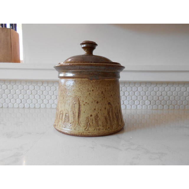 Covered Pottery Canister - Image 2 of 6