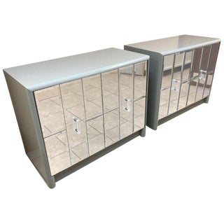Pair Hollywood Regency Mirrored Front Cabinets For Sale