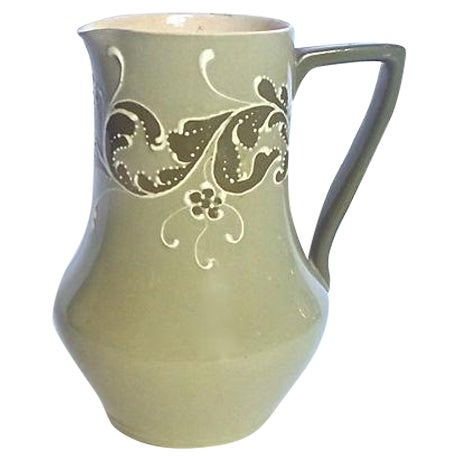 Antique English Esso Faience Leaf Pitcher For Sale