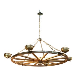 Vintage used brown chandeliers chairish vintage wagon wheel hanging chandelier light aloadofball Gallery