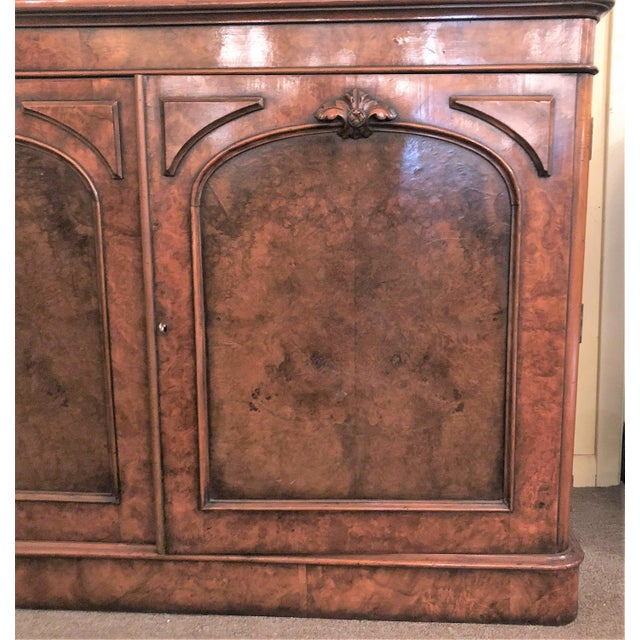Antique English Victorian Burled Walnut Bibliotheque, Circa 1880. For Sale - Image 4 of 5