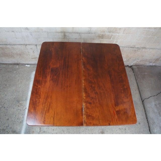 Antique American Empire Flame Mahogany Swivel Game Console Table For Sale - Image 4 of 13