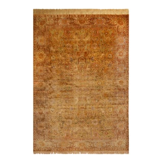 Antique Sivas Traditional Brown and Beige Silk Rug For Sale