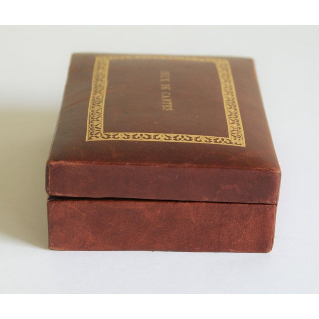 French Vintage French Leather Playing Card Box For Sale - Image 3 of 13