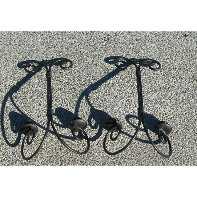 Late 20th Century Chandelier Wrought Iron Wall Sconce Candle Holders - a Pair For Sale In Las Vegas - Image 6 of 7