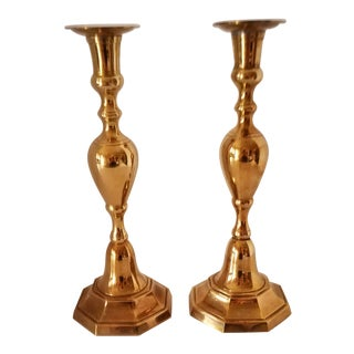 Vintage Indian Large Brass Candle Holders - a Pair For Sale