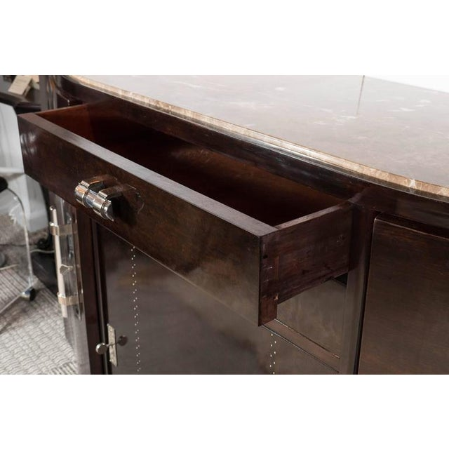 Brown Art Deco Book-Matched Rosewood and Emperador Marble-Top Sideboard For Sale - Image 8 of 11
