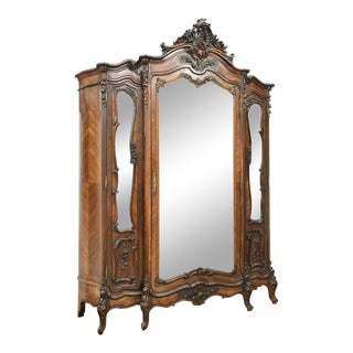 Antique 19th Century French Louis XV Style Rosewood Armoire For Sale
