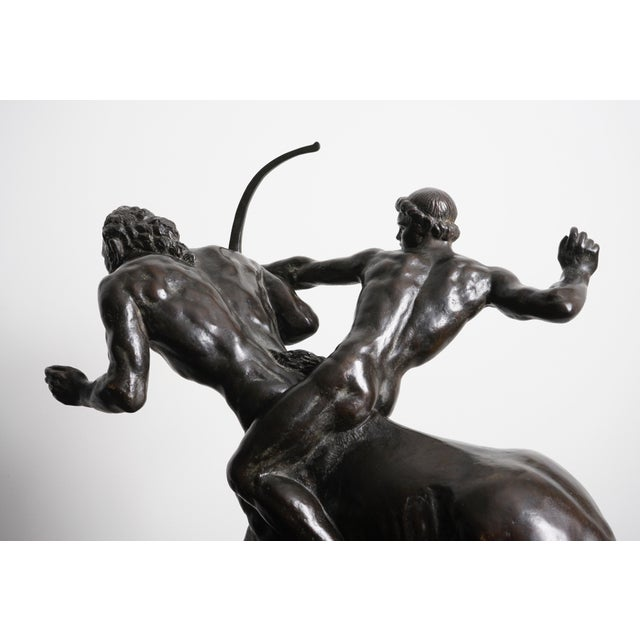 """French Classical Bronze Sculpture by French Sculptor Pierre Traverse - """"Archer & Centaur"""" For Sale - Image 3 of 5"""