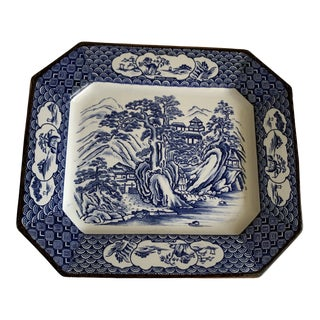 Vintage Blue & White Chinoiserie Platter Tray For Sale