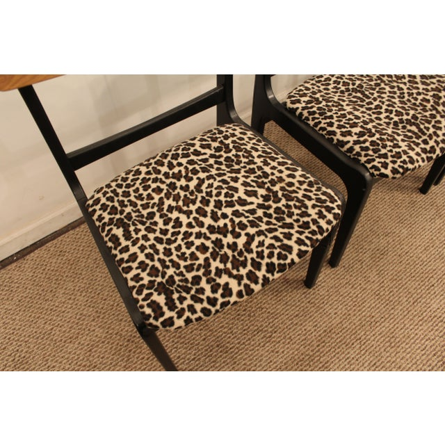 Danish Curve-Back Dining Chairs in Leopard - Set of 4 - Image 11 of 11