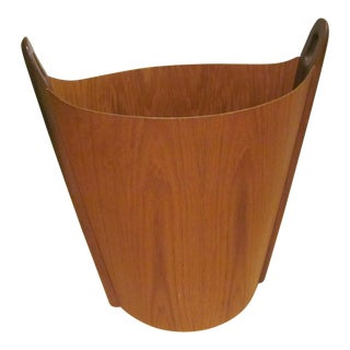 Vintage P. S. Heggen Teak Waste Basket Designed by Einer Barnes For Sale