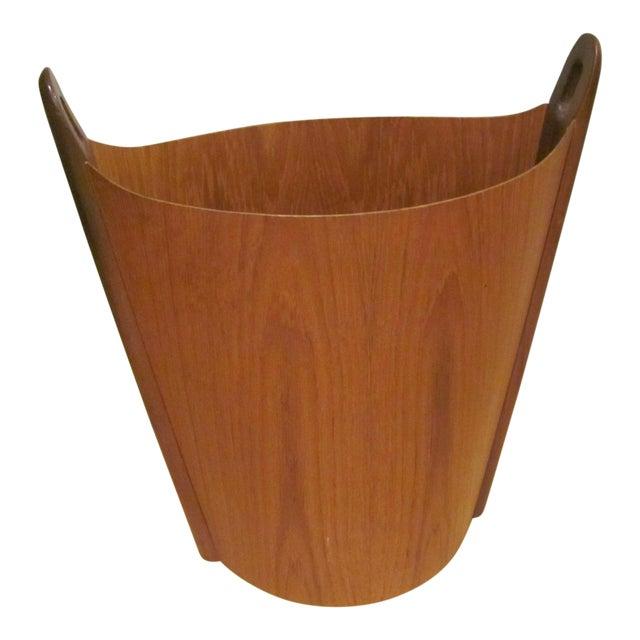 Vintage P. S. Heggen Teak Waste Basket Designed by Einer Barnes For Sale