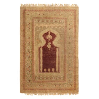 Antique Kayseri Traditional Burgundy and Beige Wool Rug For Sale