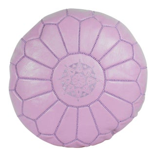 Modern Moroccan Vintage Pink Pouf For Sale