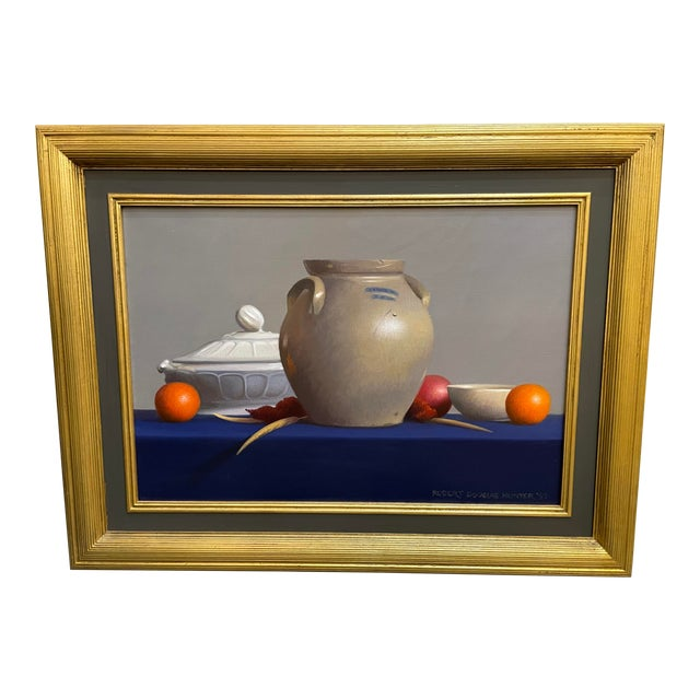 """1990s """"Arrangement of Two Tempe Oranges and a Fuji Apple"""" Still Life Oil Painting by Robert Douglas Hunter, Framed For Sale"""