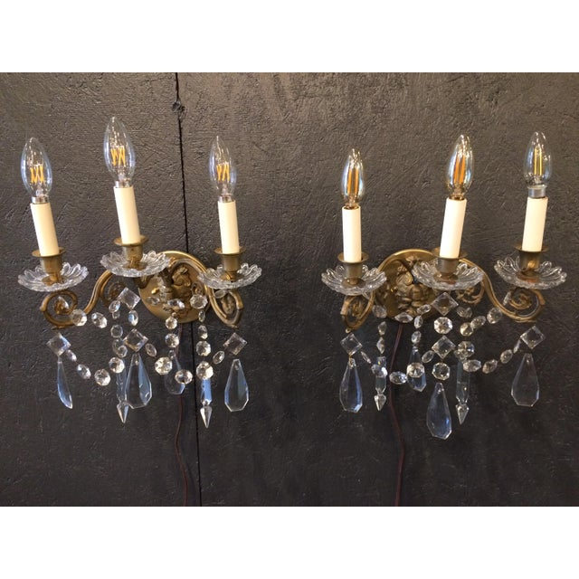 Napoleon III Bronze and Crystal Sconces - A Pair For Sale - Image 9 of 9