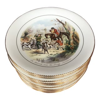 1910s British Colonial Wedgwood Fox Hunt Plates - Set of 16 For Sale