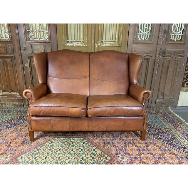 Vintage Danish Sheep Skin Leather High-Back Sofa For Sale In Houston - Image 6 of 6