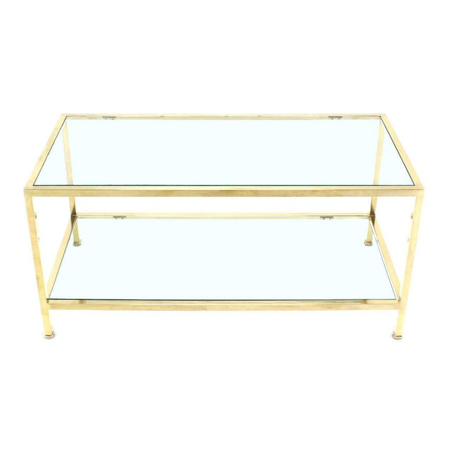 Brass Solid Brass Tube Rectanglar Coffee Table For Sale - Image 7 of 7