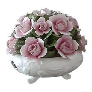 Aynsley Bone China Pink Rose Porcelain Flower Arrangement For Sale