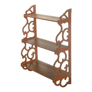 Vintage Mahogany 3-Tier Wall Shelf For Sale