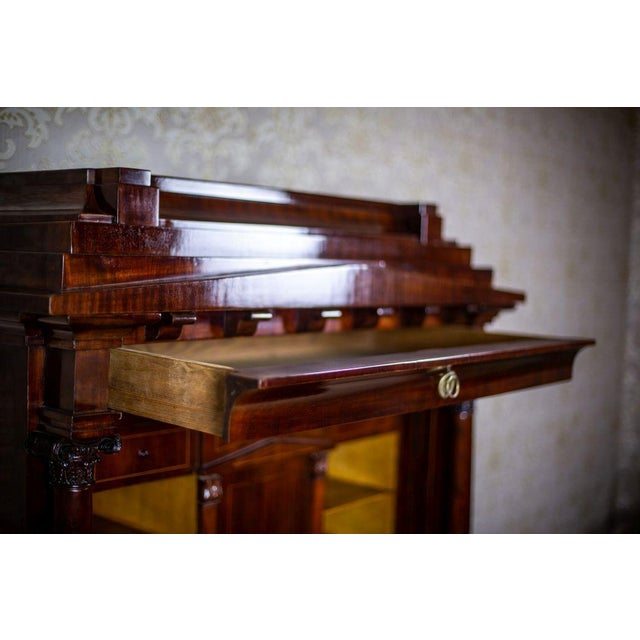 Mid 19th Century Biedermeier Secretary Desk Veneered with Mahogany, circa 1840 For Sale - Image 5 of 13