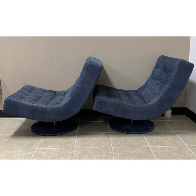 Roche Bobois Post Modern Italian Leather Roche Bobois Swivel Lounge Chair and Ottoman For Sale - Image 4 of 12