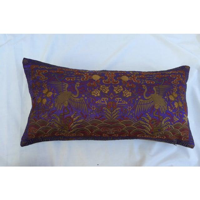 Asian Vintage Lilac Silk Crane Boudoir Pillow For Sale - Image 3 of 7