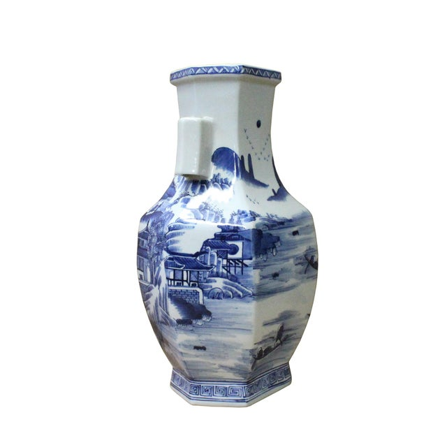 Chinese Blue & White Porcelain Oriental Mountain Scenery Graphic Vase For Sale - Image 4 of 7