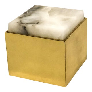 Alabaster Topped Brass Box For Sale