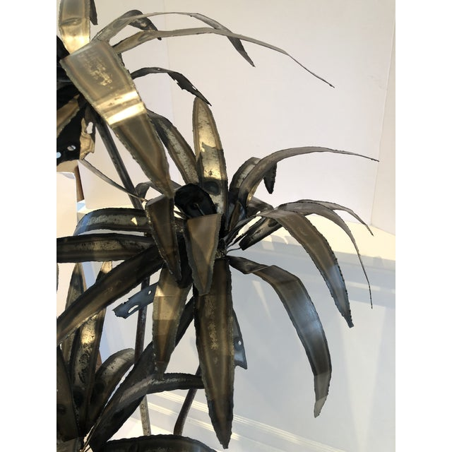 Mid-Century Brutalist Steel Cut Potted Palm Tree For Sale - Image 4 of 12