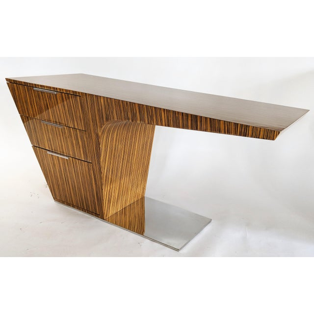 Zebra Wood Modern Cantilever Desk For Sale - Image 4 of 13