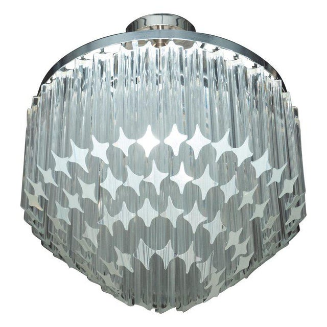 Silver Italian Mid-Century Modern Camer Chandelier With Chrome Detailing For Sale - Image 8 of 8