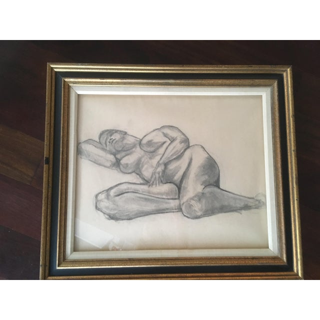 """Vintage Large Mid-Century Art Deco Abstract """"Laying Woman Figure Nude"""" Pencil Drawing For Sale - Image 4 of 9"""