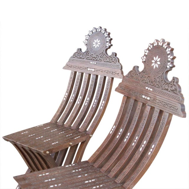 Boho Chic Vintage Mother Of Pearl Inlaid Chairs - Set of 2 For Sale - Image 3 of 7