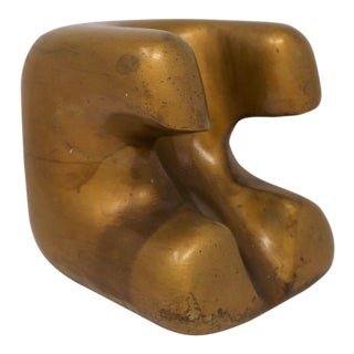 Carved Gold Wooden Sculpture or Bookend For Sale