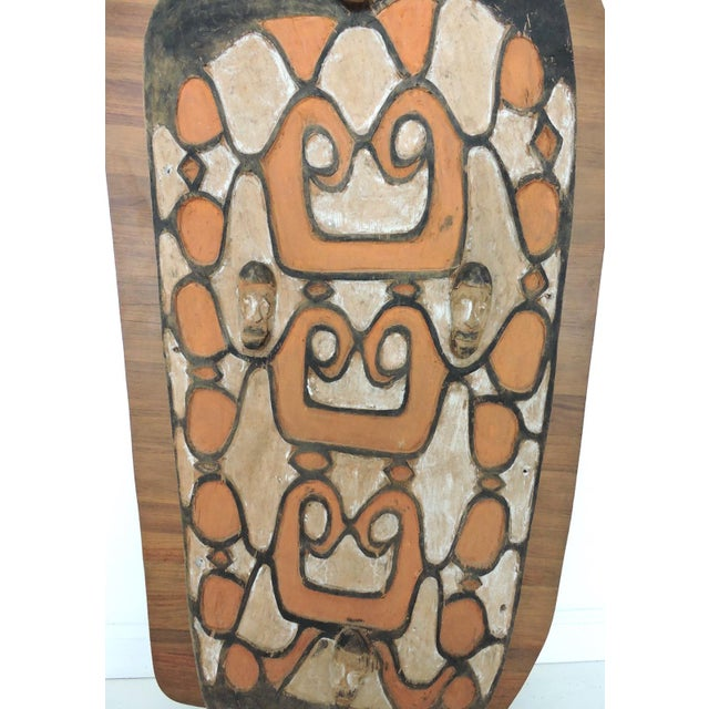 Asian Large Mounted 'Asmat' South East Asian Wood War Shield Panel For Sale - Image 3 of 9