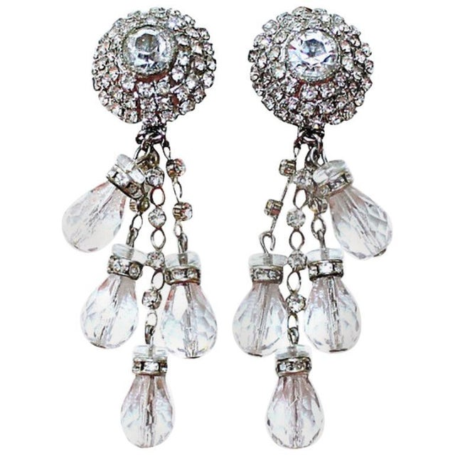 1960s William deLillo Crystal Chandelier Earrings For Sale In Los Angeles - Image 6 of 6