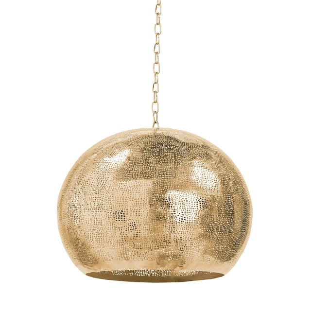 Pierced Metal Sphere Pendant in Natural Brass For Sale - Image 9 of 9