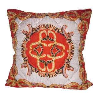 Mid-Century Modern Hermes-Style Orange Quilted Silk Scarf Pillow Envelope For Sale