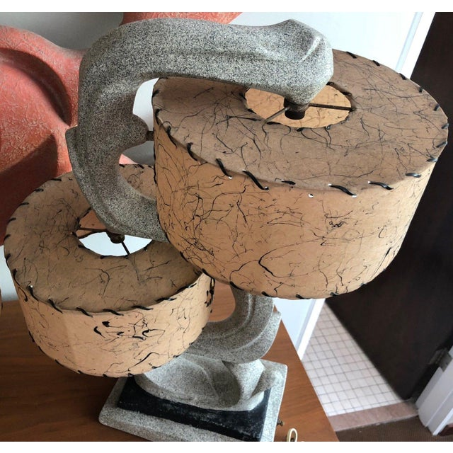 Fabulous 1950s Chalkware Table Lamp Set With Fiberglass Shades Mid Century Modern Atomic Era Retro For Sale - Image 4 of 13